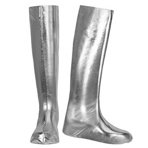 Silber Stulpen Kostüm - NET TOYS GoGo Schuhüberzieher Stiefel-Überzieher | Silber | Aufreizendes Damen-Kostüm-Zubehör Stulpenstiefel Überschuhe | Perfekt geeignet für 90er-Party & Straßenkarneval