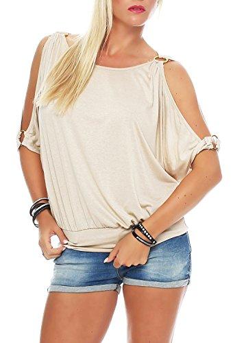 malito Damen Bluse kurzarm | Tunika mit breitem Bund | Blusenshirt im Casual Look | Elegant - Shirt 3309 (beige)