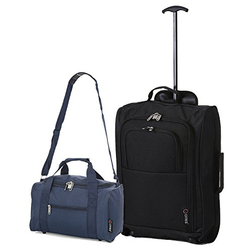 Ryanair Handgepäck 55x40x20cm & Zweites 35x20x20 Reisetasche Set - Nehmen Sie beide mit! (Schwarz + Marine)