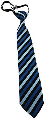 TigerTie Security Sicherheits Krawatte blau petrol türkis schwarz gestreift - vorgebunden mit Gummizug