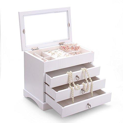 Schmuckkasten aus Holz schmuckkoffer Schmuckkästchen Holzbox Aufbewahrungsbox für Schmuck - 3