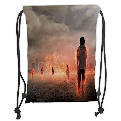 Fashion Printed Drawstring Backpacks Bags,Zombie Decor,Group of People in Flame in the Water under Storm Clouds Image,Pearl Egg Shell Vermilion Soft Satin,5 Liter Capacity,Adjustable String Closur Storm Soft Shell