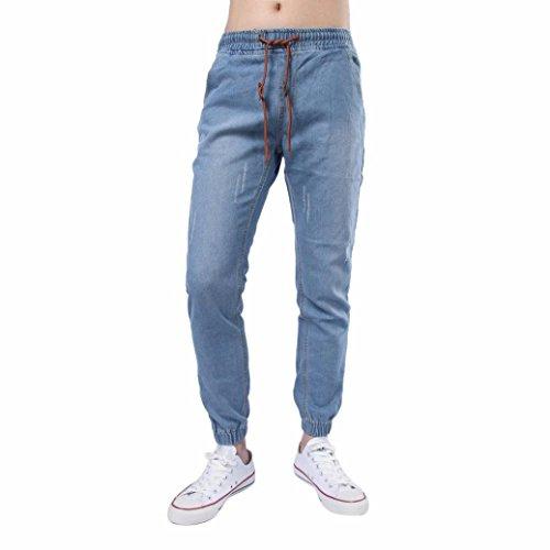 OVERDOSE Homme Jean Droit Slim Stretch Skinny Ceinture Vintage Délavage Clair Casual Trousers