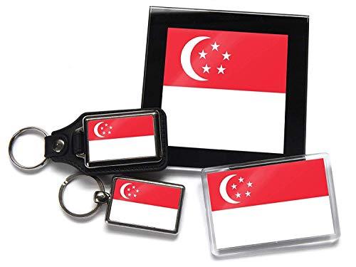 Flag of Singapur Geschenkpaket Chrom Schlüsselring Schlüsselanhänger aus Leder Kühlschrankmagnet und Glas Untersetzer mit Geschenkverpackung