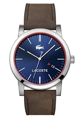 Lacoste 2010848 - Reloj análogico de cuarzo con correa de cuero para hombre, color marrón/azul
