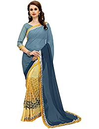 Navya Women's Georgette Printed Saree With Blouse Piece - Nav295_Grey And Yellow_Free Size