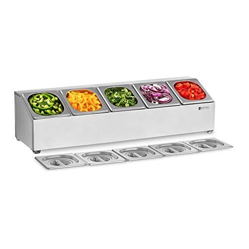 Royal Catering GN-Aufsatzbord Gastronorm-Behälter Gestell RCPN 5 (Edelstahl, Spülmaschinenfest, inkl. 5 GN 1/6 Behälter mit 5 passenden Deckeln)