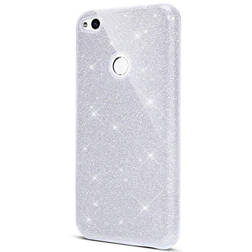 Surakey cover huawei p8 lite 2017, custodia in silicone brillantini glitter premium ibrida gel case [design 3 in 1] sottile pc paillettes bling protettiva cover per huawei p8 lite 2017,argento
