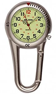 Klox Silver Belt Carabiner Clip on style Nurse Fob Watch with luminous dial by Klox