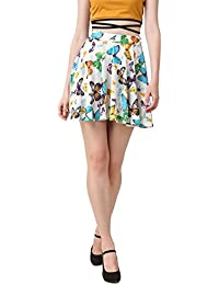 TEXCO Mustard Yellow Butterfly Printed Skater Skirt