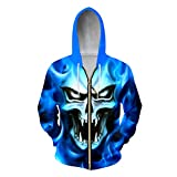 Men's Casual Hoodies Cool Drucken Blue Flame Skull 3D-Sweatshirts Mann Hip Hop Streetwear Trainingsanzug Homme Zip Hooded Jacken