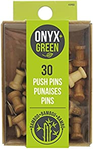 Pushpins, Onyx & Green Pushpins, Made from Bamboo - 30 pack (3902)
