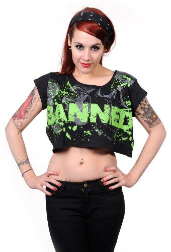 Banned Shirt BANNED Top - Girlie, schwarz Pink