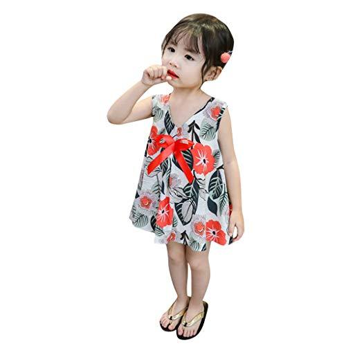 Mädchen Kleinkind Baby Sommer Kinder Kleider Ärmel Strand Strampler Tops Blumen Geraffte Overall Prinzessin Print Lace Tutu Party Outfits Sets Kleidung Kleid (Alter: 4-5 Jahre, Rot) -