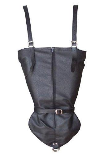 Bondage Set Leder Handfesseln Monohandschuh Armbinder Hand Arm Rücken Hand Fesseln schwarz mit RV