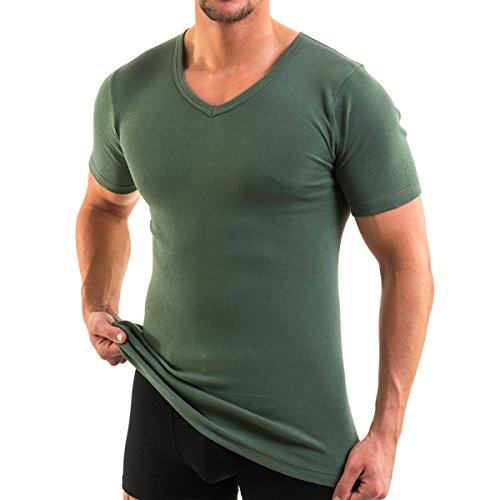 HERMKO 4880 3er Pack Herren kurzarm Business Shirt V-Neck (Weitere Farben) Olive