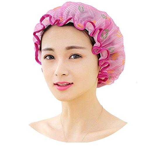 Bonnet de douche réutilisable double couche imperméable Bain Chapeau, Rose rouge