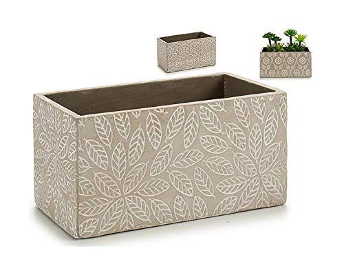 takestop® - Maceta Rectangular de Cemento con diseño de Flor Abstracta para Planta, decoración de Estilo Industrial para casa, jardín, fantasía Informal