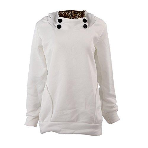 SODIAL (R) Donne Felpa Con cappuccio Leopard Tops Camicette Maglione Cappotto Pullover Bianco M