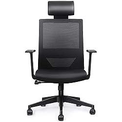 amzdeal Chaise de Bureau Siège Ergonomique Fauteuil Pivotante de Bureau en Maille Transpirant avec Réglable Oreiller Respirant et Confortable pour Réduire la Fatigue