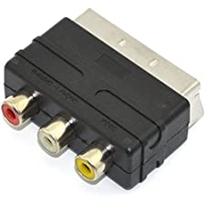 3 RCA Phono to Scart Adapter Block for Console AV Cables