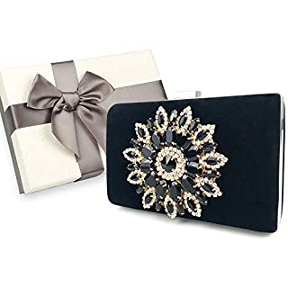 Womens Evening Clutch Bag, Handbag,Wedding Bag,Ladies Party Clutch Purse, Packed in Exquisite Gift Box (Black- Vintage Floral)