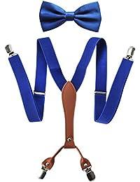 axy X-Form Herren Hosenträger mit Fliege Set - breit 2,5 cm mit PU Leder und 4 Starken Clips HT25-2