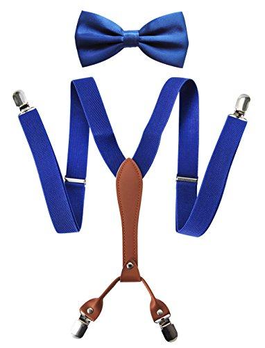axy X-Form Herren Hosenträger mit Fliege Set - breit 2,5 cm mit PU Leder und 4 Starken Clips HT25-2 (Blau Set) -