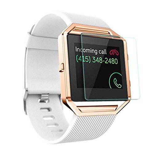 Fitbit Armband, IMJONO Weiches Silikon Uhrenband Armband + Metallrahmen + HD Film Für Fitbit Blaze Uhr Heißer Verkauf Geschenk (Weiß)