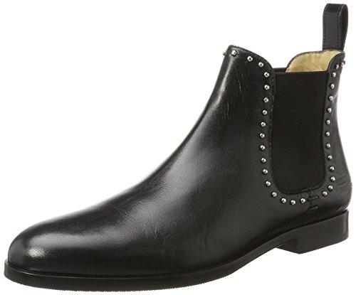 Melvin & Hamilton Damen Susan 37 Chelsea Boots, Schwarz (Salerno Black + Rivets, Ela. Black, Hrs), 40 EU (Damen Rivet)