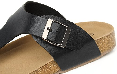 AgeeMi Shoes Unisex Slip On Offener Zeh Doppel Riemen Gummi Flats Sandalen,EuL03 Schwarz 34