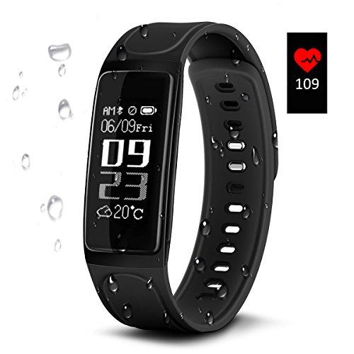 Fitness Armbänder, ELEGIANT Smart Fitness Tracker Bluetooth 4.0 Aktivitätstracker Schrittzähler Uhr Sport Watch IP67 Wasserdicht mit Herzfrequenz Monitor/ Schlafanalyse/ Kalorienzähler/ Kamerabedienung/ Vibrationswecker Anruf SMS Whatsapp Vibration/ für Android iOS Smartphone wie iPhone 7/7 Plus/6S/6/6 Plus/8, Huawei P9 usw.