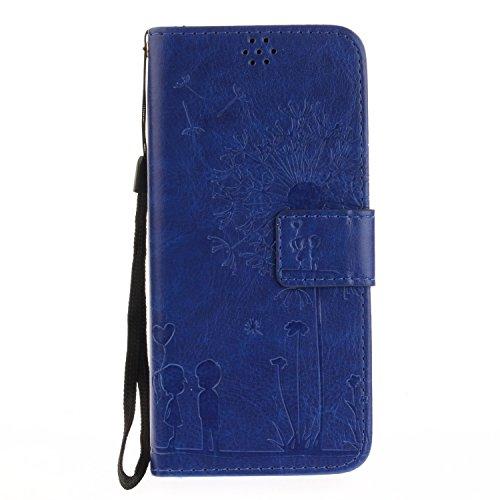 Für Samsung Galaxy S8 Plus Solid Color Case mit geprägtem Löwenzahn Pattern Premium Soft PU + TPU Leder Notizbuch Brieftasche Stand Case mit Karte Cash Slots & Stand / Kickstand & Lanyard ( Color : Go Blue