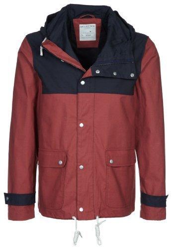 Selected - Giacca in cotone con cappuccio da uomo, rosso, taglia L