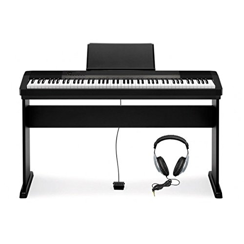 Casio CDP-130 - Piano digital con soporte (88 teclas, 48 notas, 5 canciones), color negro