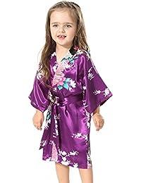 FLYCHEN Niña Vestidos Corto de Kimonos Floral Pijama Camisones
