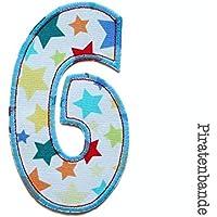 Geburtstagszahl 6 Zahl Applikation XL Aufbügler
