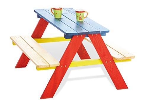 Pinolino Kindersitzgarnitur Nicki für 4, aus massivem Holz, 2 Bänke mit 1 Tisch, empfohlen für Kinder ab 2 Jahren, bunt