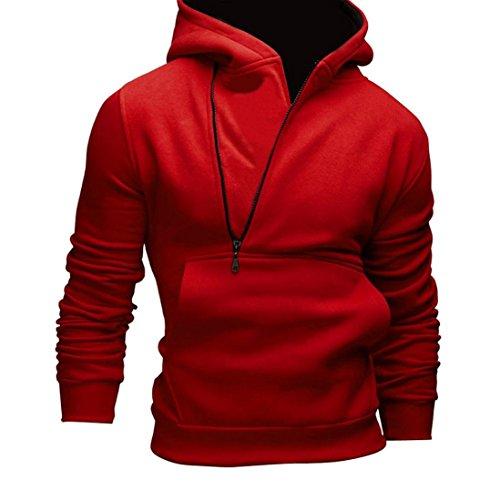 Chaqueta GillBerry Hombres calentar sudadera con capucha los ropa exterior de abrigo (EU42, Rojo 2)