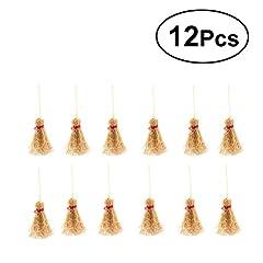 Idea Regalo - supvox Mini NATURALE Craft Scope hangings scopa giocattolo con paglia di corda rossa per la cucina Giardino miniatura casa di bambole decorazione di Festa di Halloween decorazioni 12unità