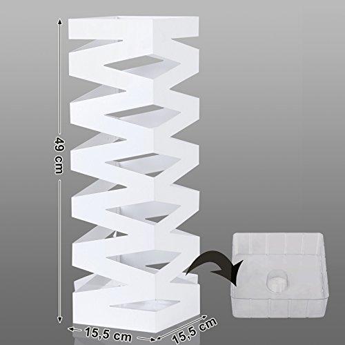 confronta il prezzo SONGMICS Portaombrelli Porta ombrelli 49 cm Bianco in ferro quadro Con Gancini e Vaschetta Scolapioggia LUC16W miglior prezzo