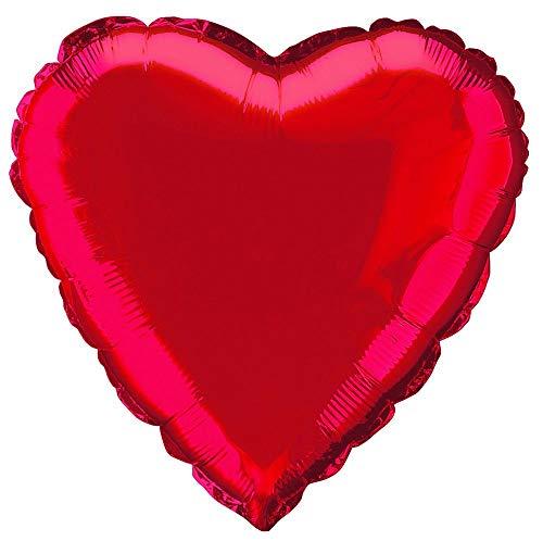 Unique party 52953 - 45 cm palloncino a elio in foil a forma di cuore color rosso