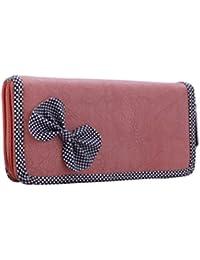 BFC-Buy For Change Stylish Elegant Peach Pink Multi-Pocket Clutch For Women & Girls.