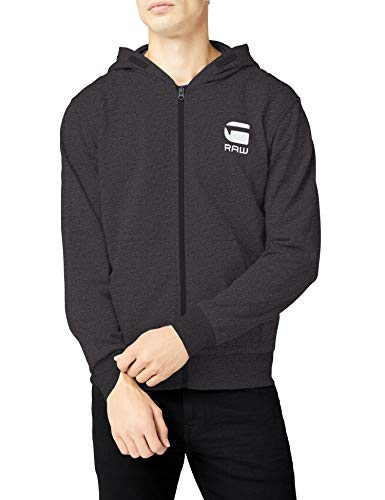 G-STAR RAW Herren Regular Fit Kapuzenpullover Doax Hooded Zip Thru Sw L/S D08476 - 9842, Gr. W28/L34 (Herstellergröße: M), Mehrfarbig (Dk Black Htr 7293) Edge Zip Hoody