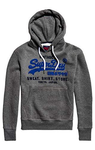Superdry Men's Sweat Shirt Shop Duo Hood Jumper, Grey (Winter Charcoal Marl Vq4), Medium
