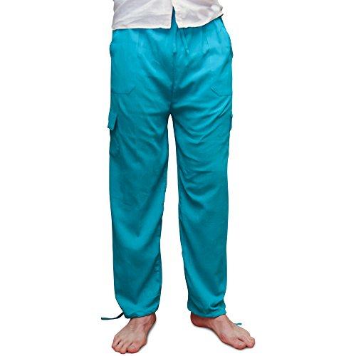 Pantalon, cordon élastique au niveau de la taille. Matière fraîche légère. Turquoise