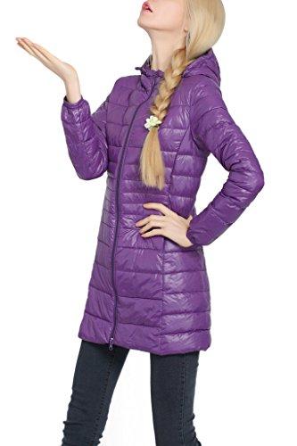 HENGJIA Damen Bepackbare Steppjacke mit Kaputze Leichte Daunenjacke für Winter Lila
