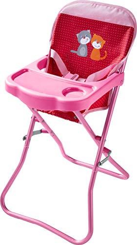 *HABA 304107 – Puppen-Hochstuhl Blumenwiese, Sitz zum Aufklappen mit Gurt und Tisch, Puppenzubehör für Puppen bis 38 cm; Spielzeug ab 18 Monaten*