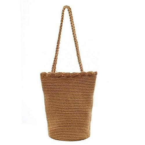 CBSTBLLL Sommer Frauen Strandtasche Handgemachte Stroh Taschen Weibliche Kordelzug Einkaufskorb Handtaschen Casual Reise Zubehör