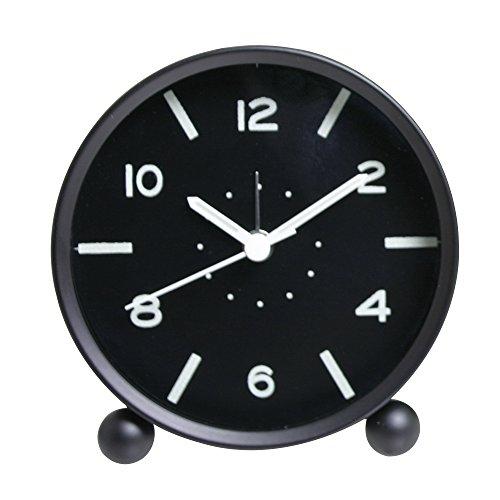 Skitic Classic Sveglia Silenzioso Alarm Clock Orologio da Tavolo Tondo Clock con Luce Notturna Capezzale, Moda Classica Piccola Rotonda al Quarzo con Allarme del Muto Table Desk Dock Clock con Sveglia Fluorescente Luminoso - Nero
